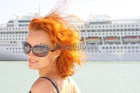 smiling, woman, and, cruise, ship, on - 28083929