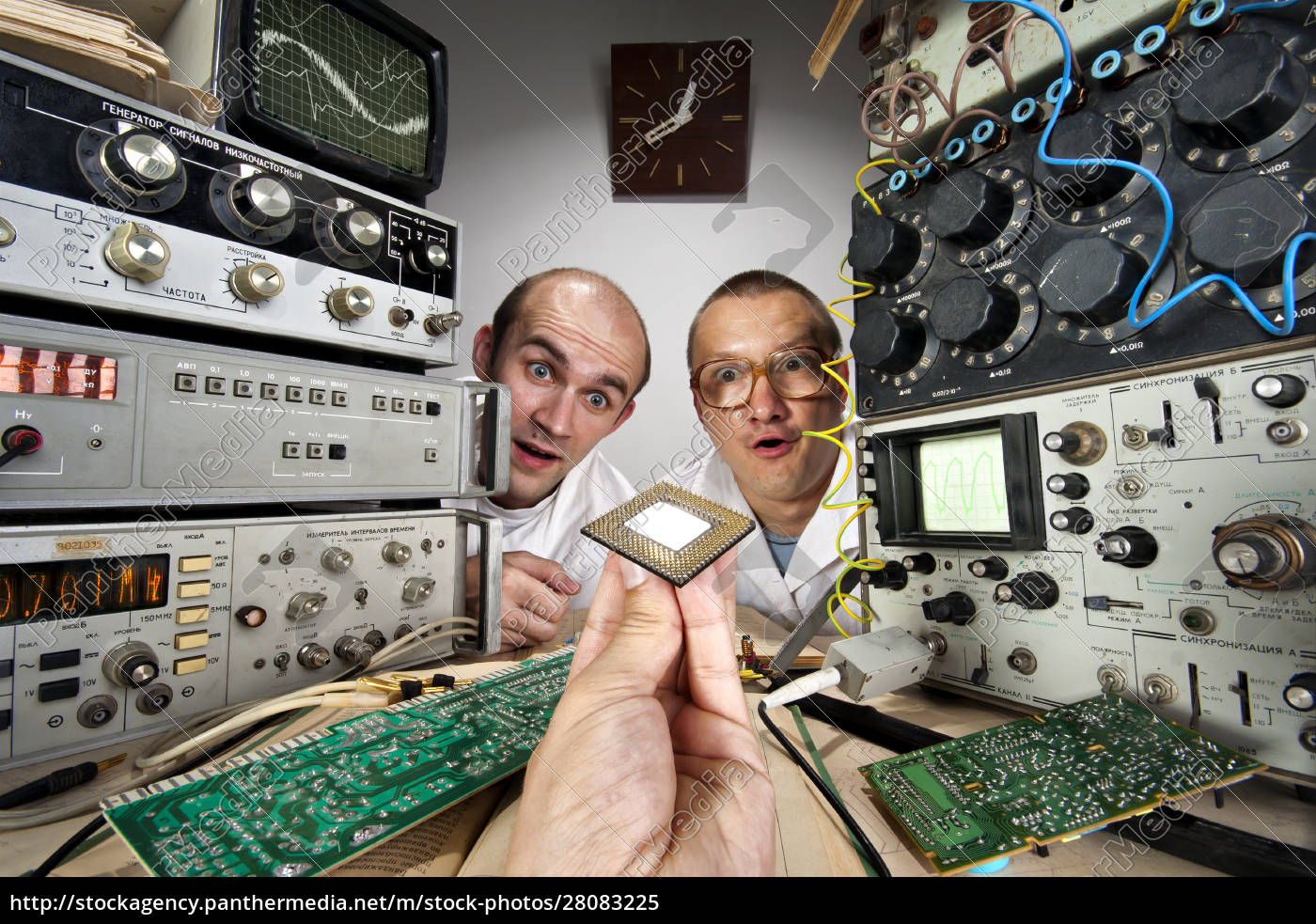 two, funny, nerd, scientists, looking, at - 28083225