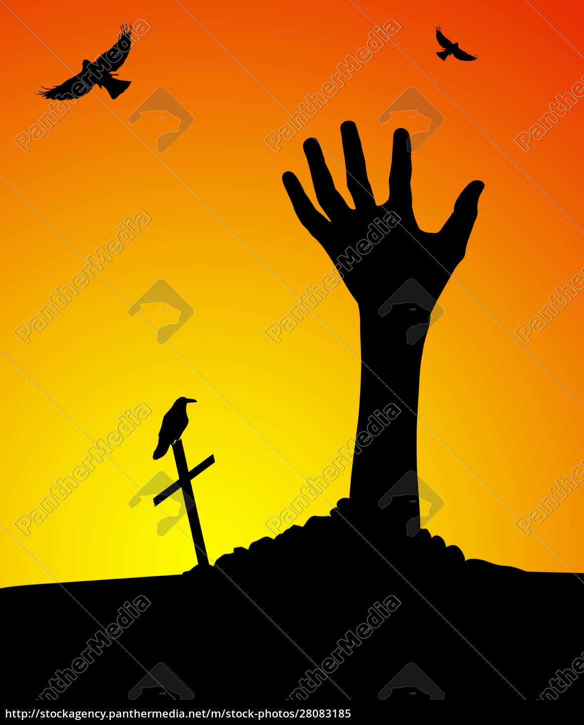 zombie, hand, rising, out, of, grave - 28083185