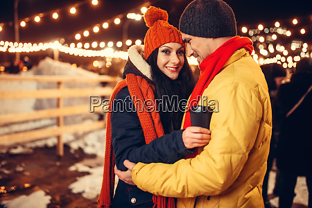 winter evening of love couple outdoors