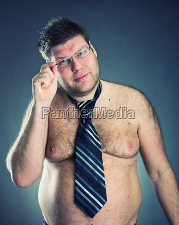 serious shirtless man