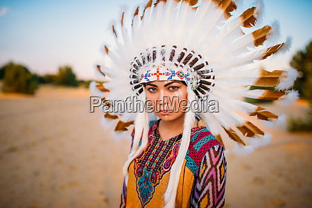 young american indian woman in traditional