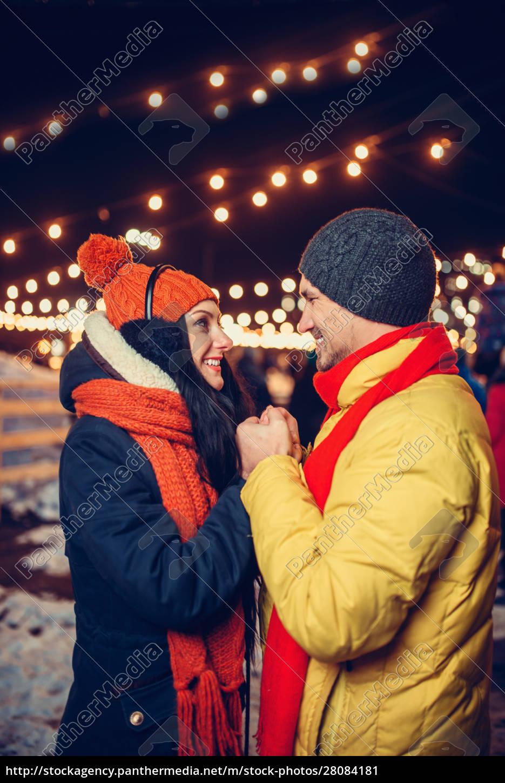 evening, winter, walk, , love, couple, on - 28084181
