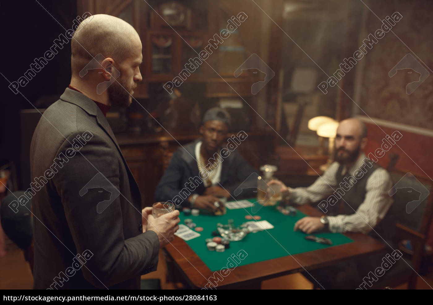 three, poker, players, with, whiskey, and - 28084163