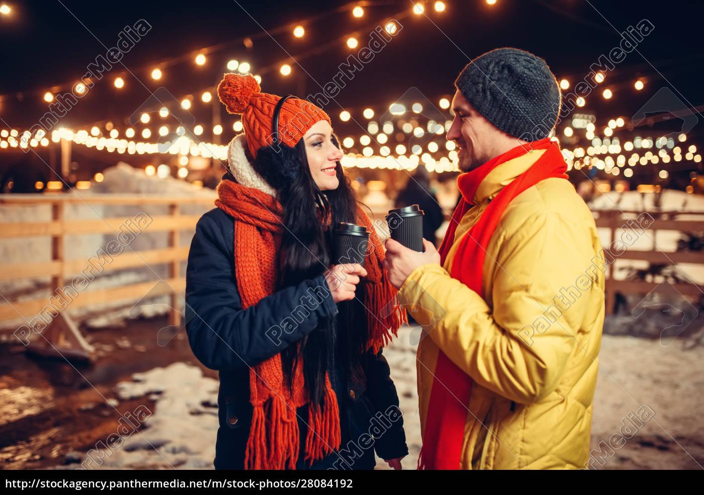 winter, evening, , love, couple, walking, outdoors - 28084192