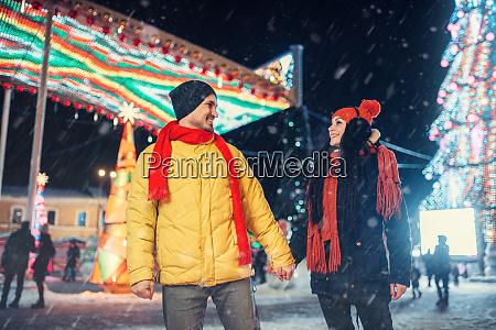 winter, walk, of, couple, , illumination, on - 28084167