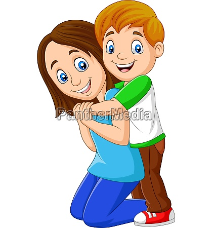 cartoon happy boy hugging his mother