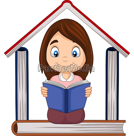 cartoon girl reading a book with