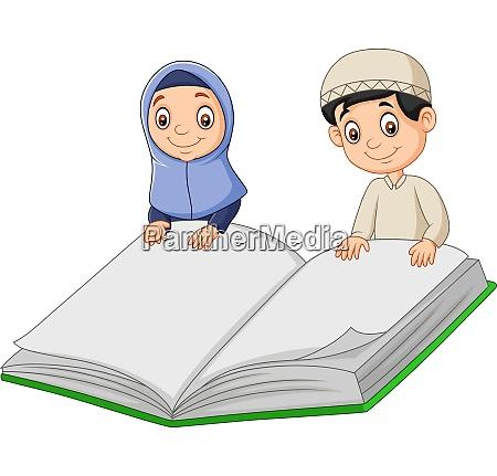 cartoon muslim boy and muslim girl