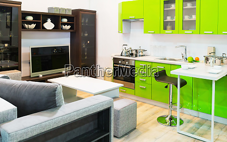 green kitchen and room clean interior