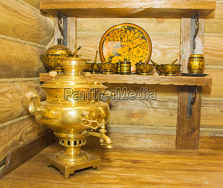 traditional russian samovar with other utensil