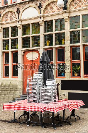 closed street cafe ancient european tourist