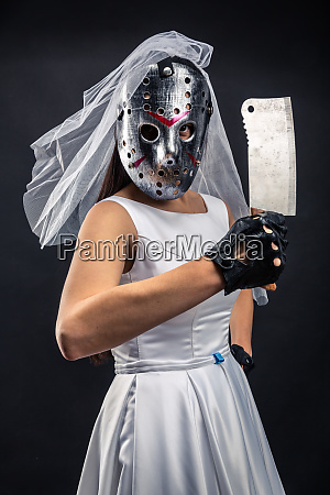 bride in hockey mask with meat