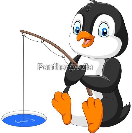 cartoon penguin fishing on the arctic