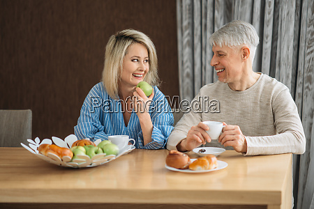 breakfast of adult love couple at