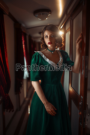 railway journey woman in vintage train