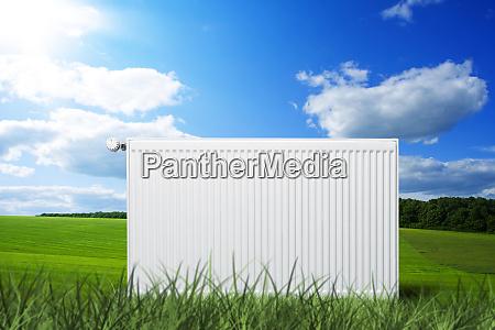 heating radiator on meadow