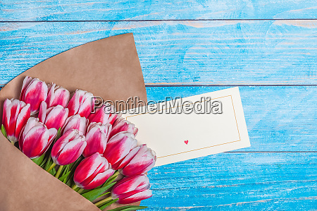 bouquet of red tulips for the