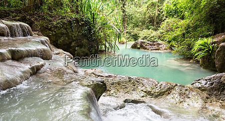tropical lake og erawan waterfall