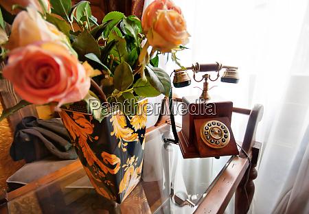 retro wood telephone and vase full