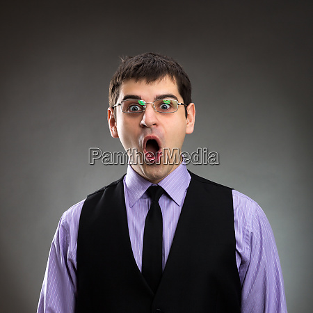businessman with open mouth