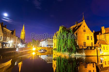 belgium brugge night cityscape panoramic view