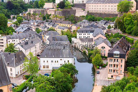 luxembourg cityscape church on river panorama