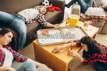 football fans sleep after alcohol party