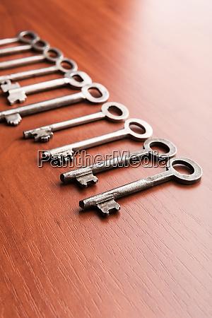 old keys in a row