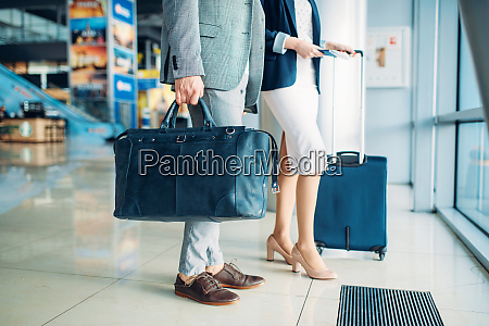 passengers with luggage in airport business
