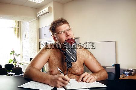 freak naked businessman