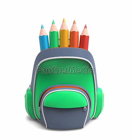 school rucksack with pencils