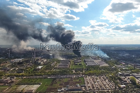 major fire at the factory dark