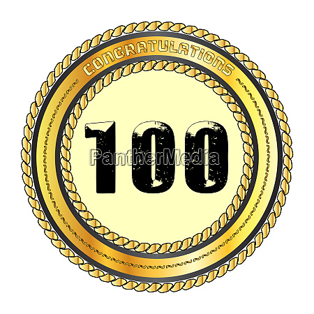 one hundred gold congratulations border