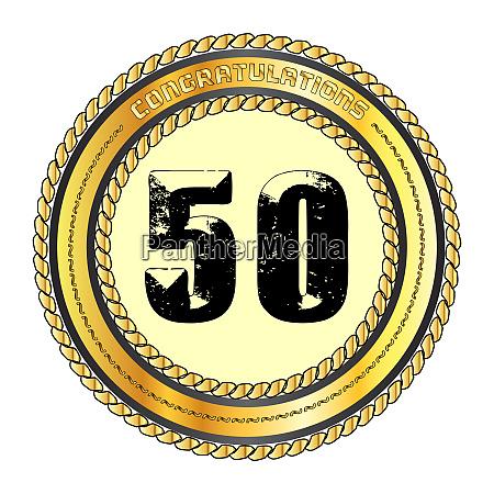 fifty gold congratulations border
