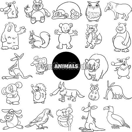 comic animal characters large set color