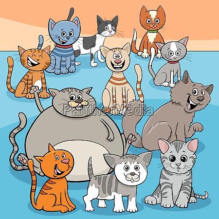happy cats group cartoon illustration