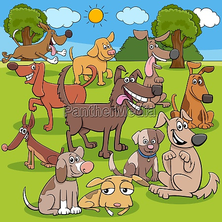 cartoon dogs characters group in the