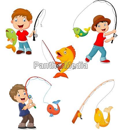 set of little boys fishing