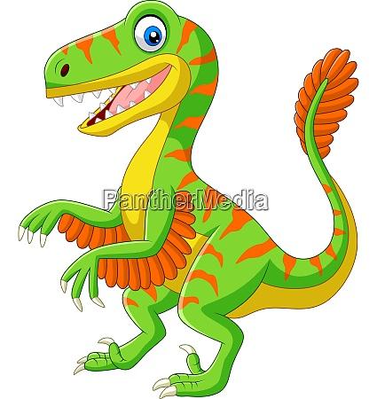cartoon green velociraptor on white background