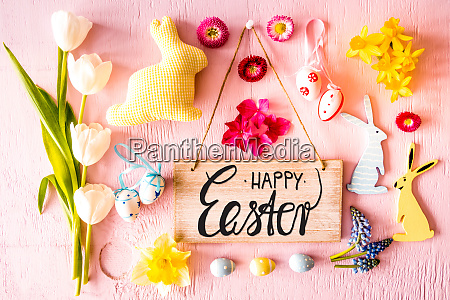 easter flat lay sign calligraphy happy