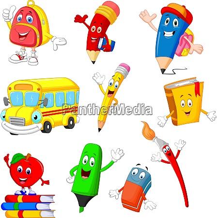 cartoon school supplies collection set