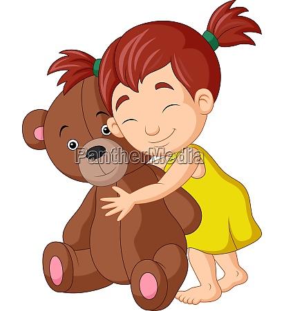 cartoon little girl hugging teddy bear