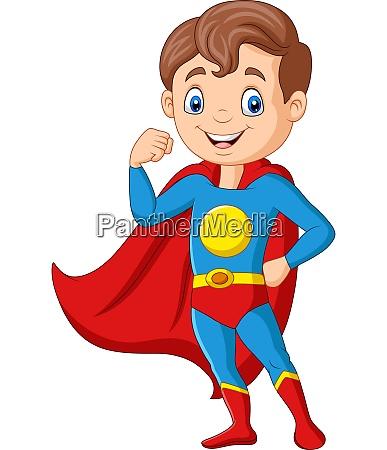 cartoon happy superhero boy posing