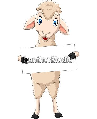 happy lamb cartoon holding blank sign
