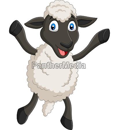 cartoon happy sheep posing isolated on