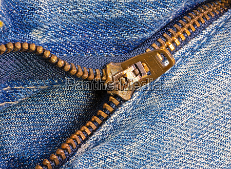open zipper of a worn out