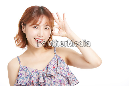 female portrait series hand sign
