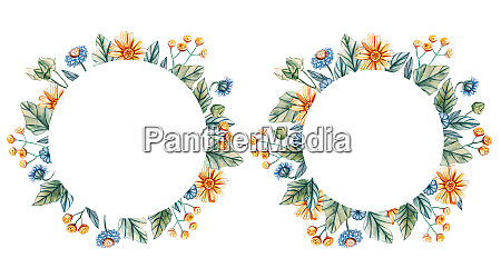floral round frame of watercolor wildflowers