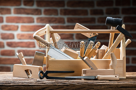 toolbox with carpenter worktools